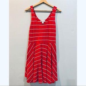Forever 21 striped red white skater dress size L